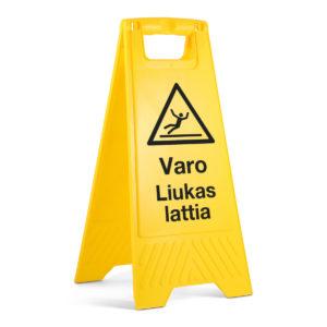 """A-Teline varoitustekstillä """"Varo liukas lattia"""""""
